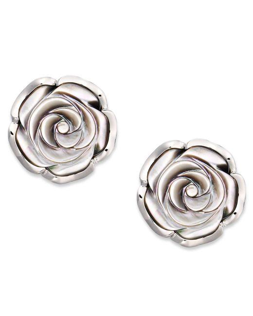 Macy's - Metallic Sterling Silver Earrings, Cultured Tahitian Mother Of Pearl Flower Stud Earrings (18mm) - Lyst