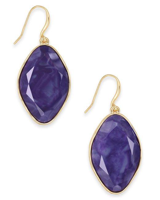 Style & Co. Purple Stone Drop Earrings, Created For Macy's