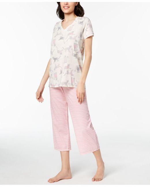 Hue - Pink ® Printed Capri Pajama Set - Lyst
