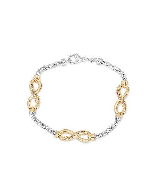 Macy's - Metallic Diamond Infinity Bracelet (1/8 Ct. T.w.) In Sterling Silver & 14k Gold-plate - Lyst