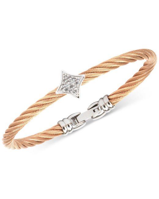 Charriol - Metallic Debutante White Topaz Two-tone Bangle Bracelet (5/8 Ct. T.w.) In Stainless Steel & Rose Gold-tone Pvd - Lyst