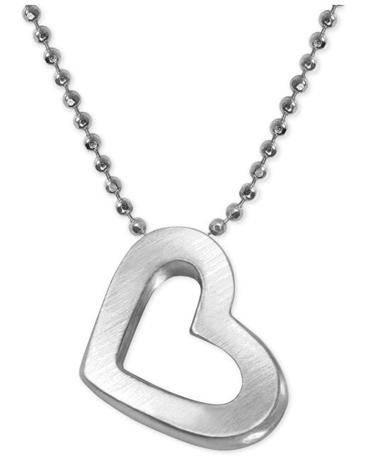 Alex Woo - Metallic Heart Beaded Chain Pendant Necklace In Sterling Silver - Lyst