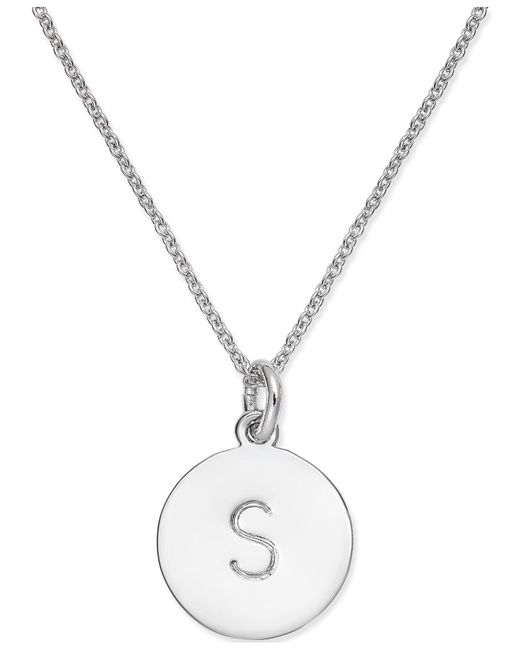 "Kate Spade - Metallic Silver-tone Disc Initials 18"" Pendant Necklace - Lyst"