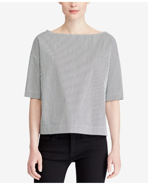 Polo Ralph Lauren - Gray Cotton Blouse - Lyst