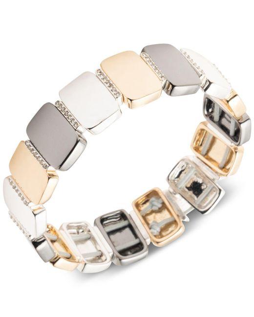 Nine West - Metallic Tri-tone Pavé Stretch Bracelet - Lyst