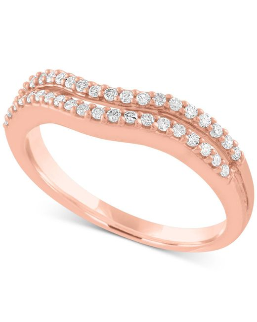 Macy's - Pink Diamond Double Row Wave Band (1/4 Ct. T.w.) In 10k Rose Gold - Lyst
