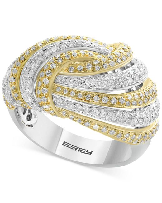 Effy Collection - Metallic Diamond Two-tone Knot Ring (1-1/8 Ct. T.w.) In 14k Gold In White Gold - Lyst