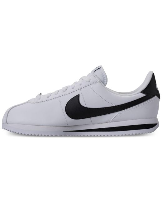 timeless design cf4c3 28609 Men's White Cortez Basic Leather Casual Sneakers From Finish Line