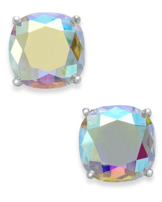 Kate Spade - Metallic Silver-tone Faceted Abalone Square Stud Earrings - Lyst