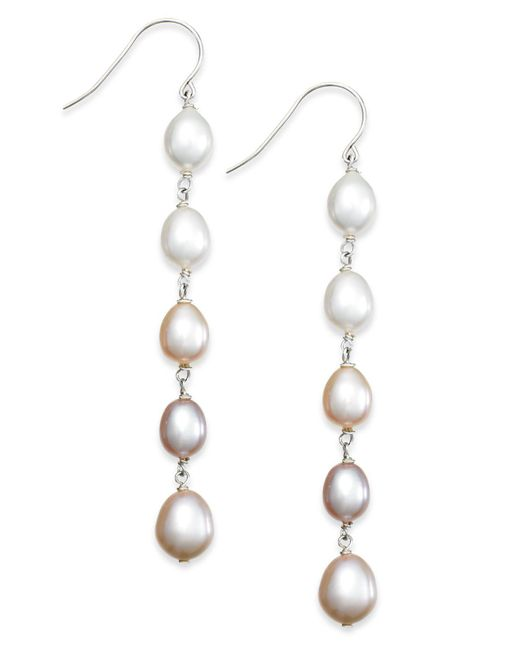 Macy's - White Multi-colored Cultured Freshwater Pearl Linear Earrings In Sterling Silver (7mm) - Lyst