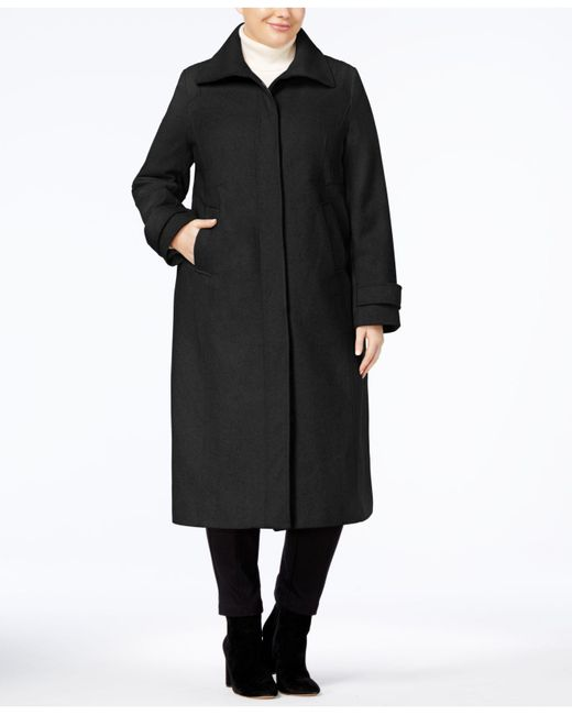 Jones New York   Black Plus Size Maxi Walker Coat   Lyst