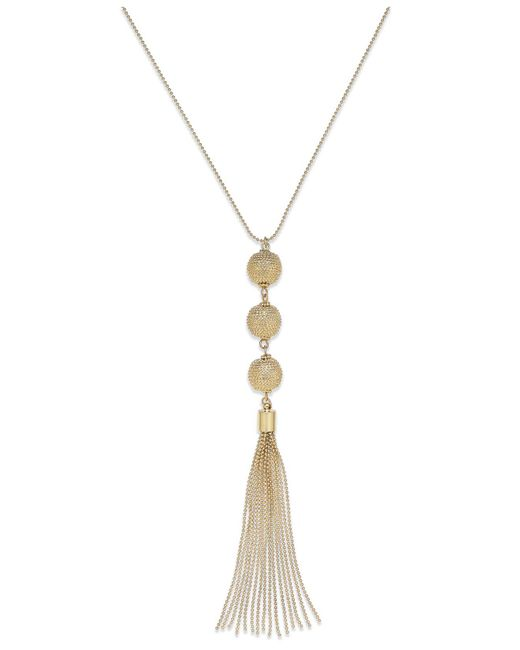 INC International Concepts - Metallic Gold-tone Triple Ball Tassel Necklace - Lyst