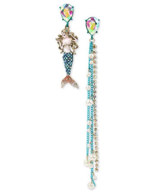 Betsey Johnson - Blue Multi-tone Crystal Mermaid Mismatch Earrings - Lyst