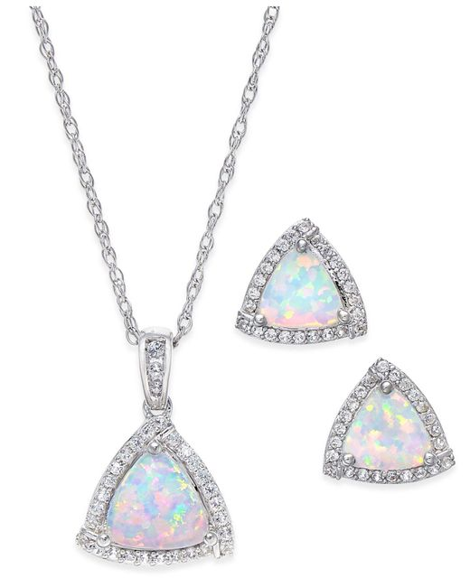 Macy's - Metallic Lab-created Opal (7/8 Ct. T.w.) And White Sapphire (1/3 Ct. T.w.) Pendant Necklace And Matching Stud Earrings In Sterling Silver - Lyst