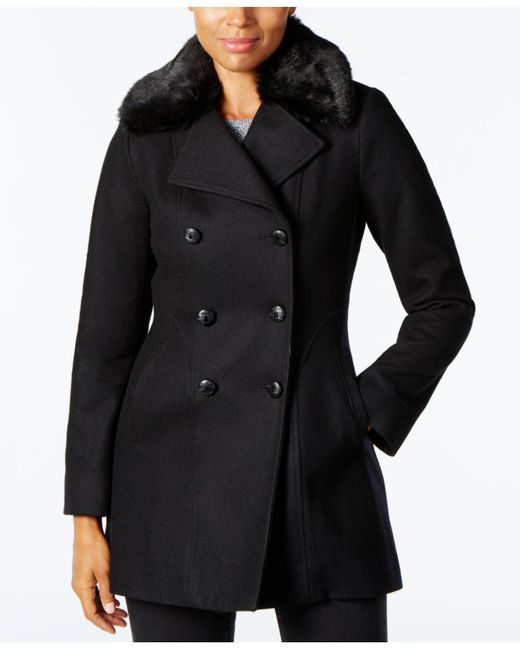 INC International Concepts - Black Faux-fur-collar Wool-blend Peacoat, Created For Macy's - Lyst