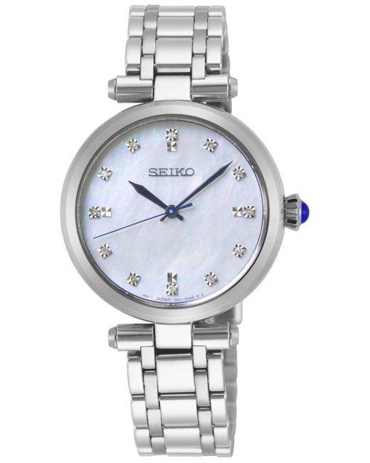 Seiko Metallic Diamond-accent Stainless Steel Bracelet Watch 30mm