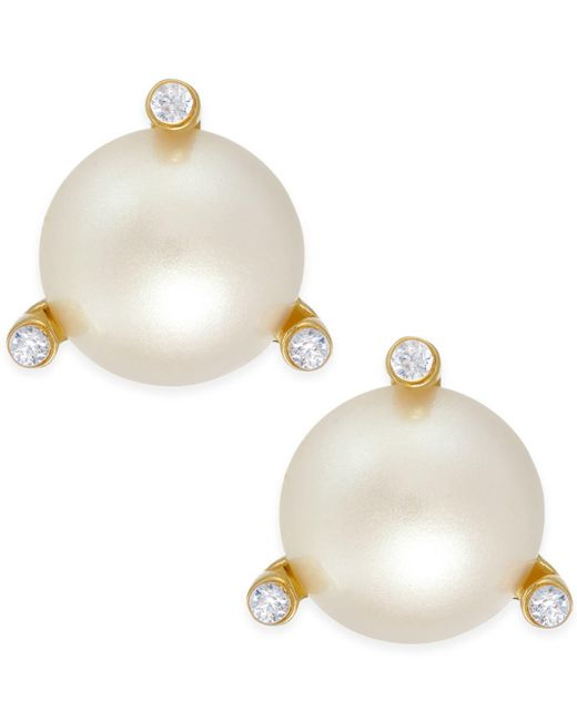 Kate Spade | Metallic Gold-tone Imitation Pearl And Crystal Stud Earrings | Lyst
