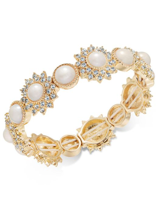 Charter Club | Metallic Gold-tone Imitation Pearl & Crystal Stretch Bracelet | Lyst