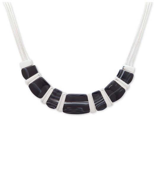 Nine West - Silver-tone Black Stone Collar Necklace - Lyst