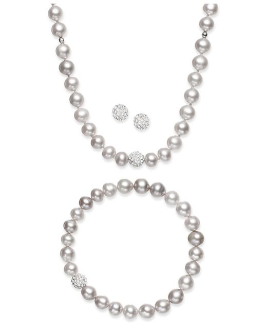 Macy's | Gray Sterling Silver Jewelry Set, Cultured Freshwater Pearl (7-7-1/2mm) And Crystal (8mm) Necklace, Bracelet And Earrings Set | Lyst