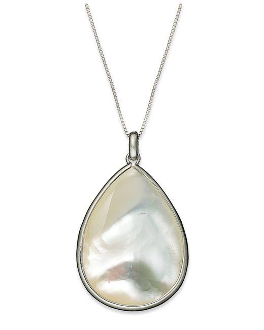 Macy's   Metallic Sterling Silver Necklace, Mother Of Pearl Teardrop Pendant   Lyst