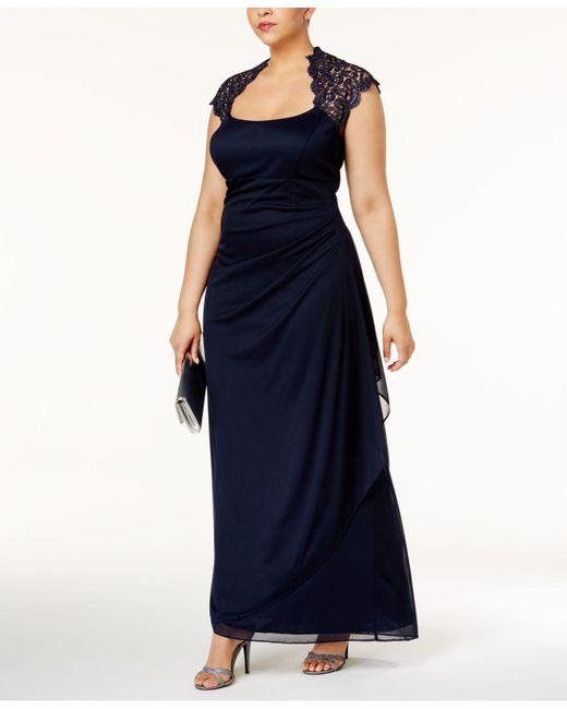 Xscape Blue Plus Size Ruched Lace Gown