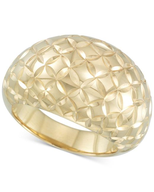 Signature Gold Metallic Tm Textured Dome Ring In 14k Gold Over Resin