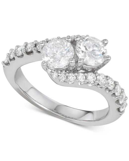 Macy's Metallic Diamond Two-stone Twist Engagement Ring (2 Ct. T.w.) In 14k White Gold