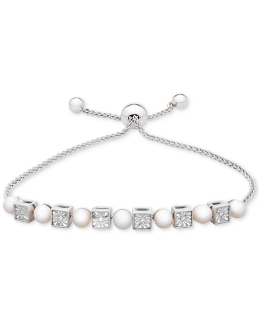 Macy's Metallic Cultured Freshwater Pearl (4-1/2mm) & Diamond Accent Bolo Bracelet In Sterling Silver