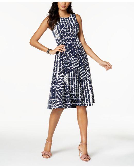 Lyst Alfani Petite Printed Fit Flare Midi Dress Created For