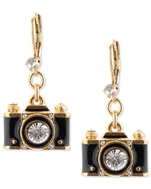 Betsey Johnson | Metallic Gold-tone Black Camera Crystal Drop Earrings | Lyst