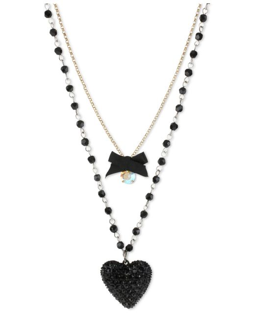 Betsey Johnson | Metallic Gold-tone Black Glitter Heart Two-row Necklace | Lyst