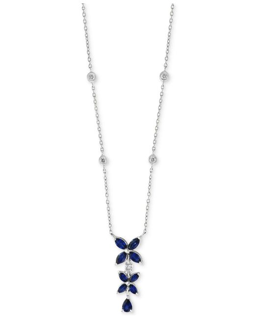 """Effy Collection - Blue Royalé Bleu By Effy® Sapphire (1-1/4 Ct. T.w.) & Diamond (1/6 Ct. T.w.) 16"""" Pendant Necklace In 14k White Gold - Lyst"""