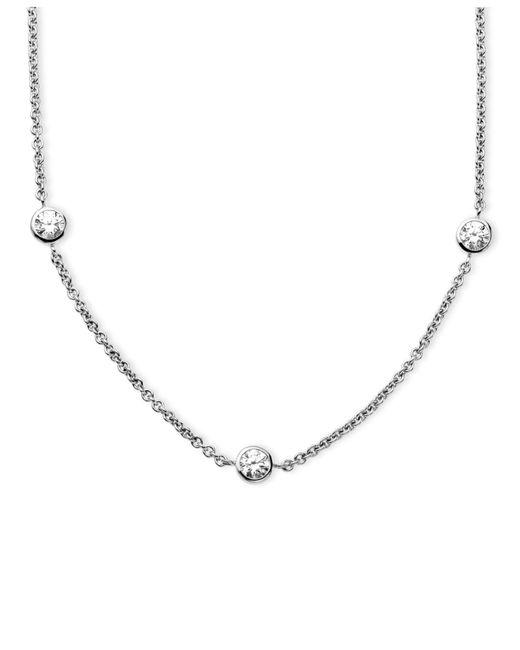 Arabella | Metallic Sterling Silver Necklace, White Round-cut Swarovski Zirconia 7-station Necklace (3-1/6 Ct. T.w.) | Lyst