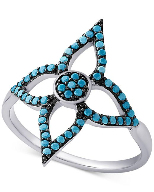 Macy's | Metallic Sterling Silver Manufactured Turquoise Flower Ring | Lyst