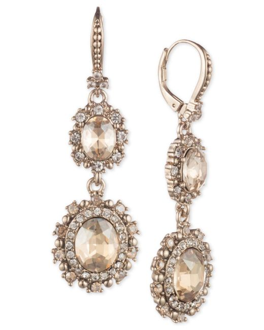Marchesa Metallic Gold-tone Crystal Double Drop Earrings