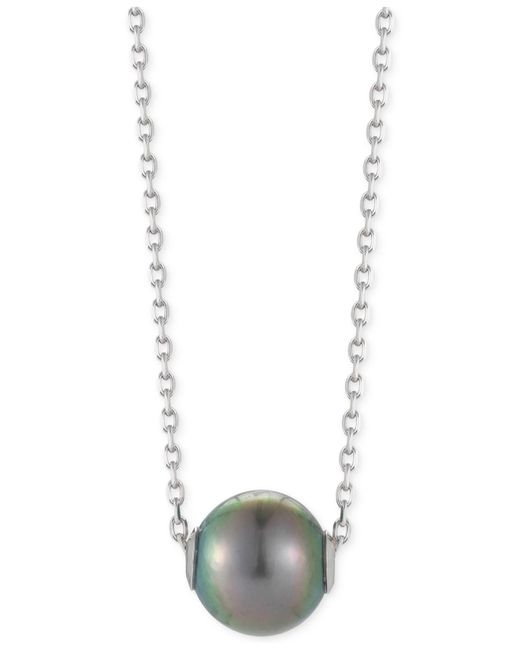 Macy's - Metallic Cultured Tahitian Pearl Pendant Necklace (10mm) In Sterling Silver - Lyst