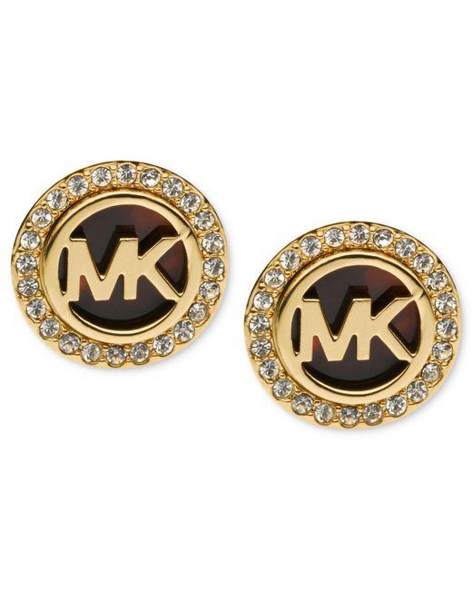 Michael Kors | Metallic Gold-tone Tortoise And Pave Logo Stud Earrings | Lyst