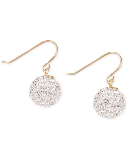 Macy's | Yellow Crystal Pavé Disc Drop Earrings In 10k Gold | Lyst