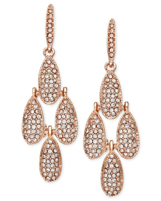 INC International Concepts | Metallic Rose Gold-tone Crystal Pavé Small Teardrop Chandelier Earrings | Lyst