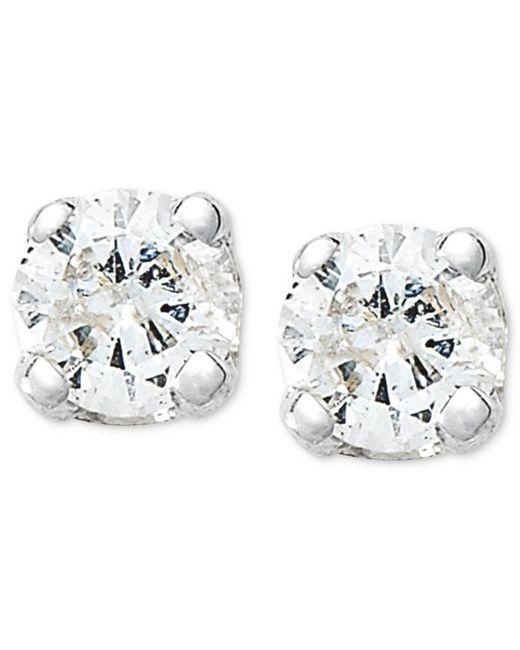 Macy's | Metallic 10k White Gold Earrings, Round-cut Diamond Accent Stud Earrings | Lyst