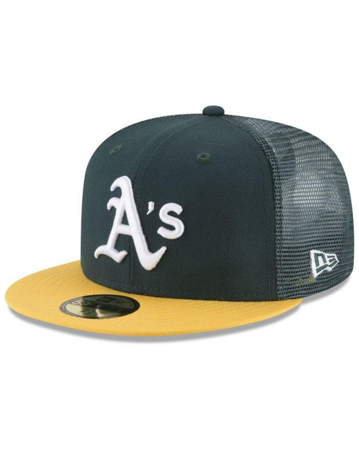 KTZ Green Oakland Athletics On-field Mesh Back 59fifty Fitted Cap for men