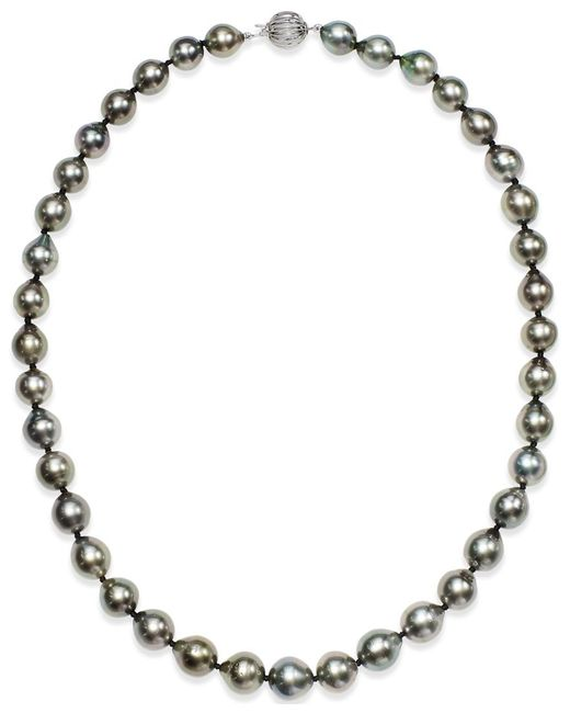 Macy's | Metallic Tahitian Multi-color Pearl (9-11mm) Strand Necklace In 14k White Gold | Lyst
