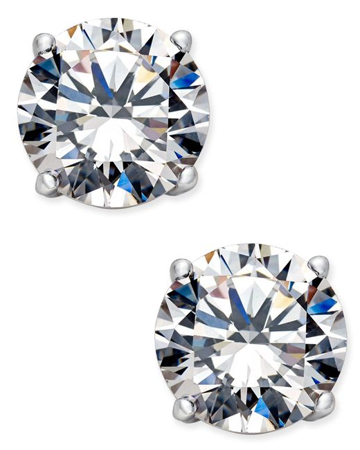 Danori - Blue Silver-tone Crystal Stud Earrings - Lyst