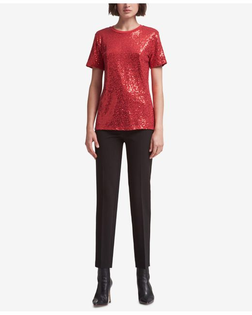 DKNY - Red Sequined Tee - Lyst