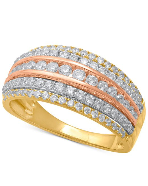 Macy's - Metallic Diamond Tri-color Multi-row Statement Ring (1 Ct. T.w.) In 14k Gold, Rose Gold & White Rhodium-plate - Lyst