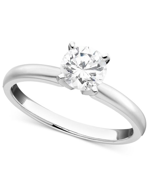 Macy's - 18k White Gold Ring, Certified Colorless Diamond Engagement (1/2 Ct. T.w.) - Lyst