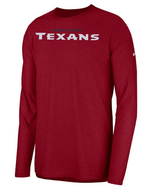 4661b1a18 Lyst - Nike Houston Texans Player Long Sleeve Top in Red for Men ...