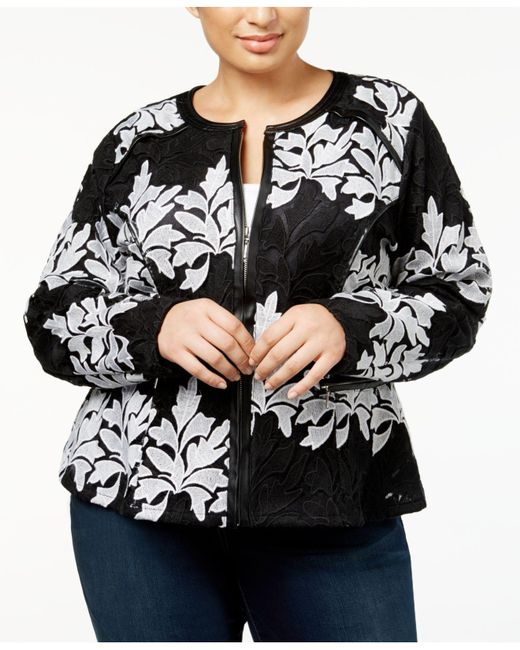 INC International Concepts - Black Plus Size Lace Jacket - Lyst