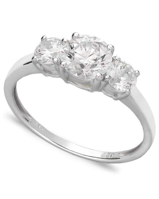 Arabella | 14k White Gold Ring, Swarovski Zirconia Small Three Stone Ring (2-3/8 Ct. T.w.) | Lyst